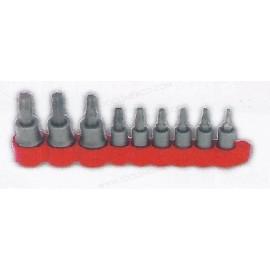 Juego de 9 dados con puntas Torx® Plus insertadas de T10 a T50 cuadro 1/4'' y 3/8''.