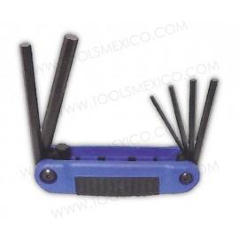 Juego de 6 llaves hexágonales tipo navaja de 3-10mm estuche bimaterial.