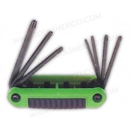 Juego de 8 llaves hexágonales Torx tipo navaja de T9-T40 estuche bimaterial.