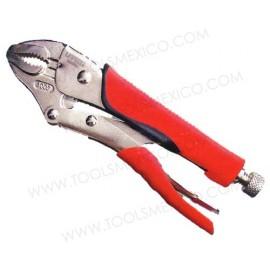 Pinza de presión de quijada curva 10'' con corta alambre mango bimaterial.