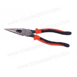 Pinza bimaterial para electricista punta larga corte lateral, sin resorte.