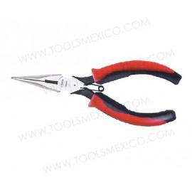 Pinza bimaterial para electricista punta larga corte lateral, con resorte.