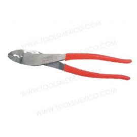Pinza para electricista corte diagonal, alta palanca con poncha terminal.