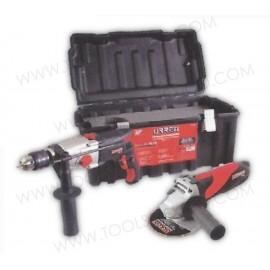 Kit de herramienta eléctrica en caja plástica.