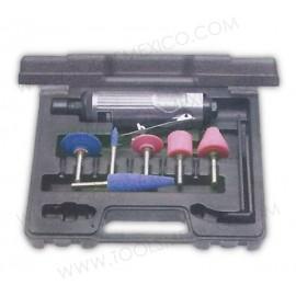 Kit de mini esmeriladora neumática con accesorios.