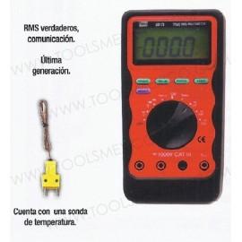 Multímetro de ultima generación con sonda de temperatura.