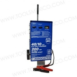 Cargador/analizador con ruedas 40/10Amp, 6/12V con pinzas de 200A.