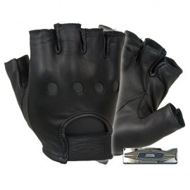Guantes de piel para conducir (medio dedo).