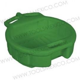 Charola de plástico de 4.5 galones para aceite drenado (verde).