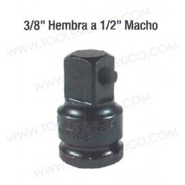 """Adaptador de impacto 3/8"""" hembra - 1/2"""" macho cuadro de 3/8''."""