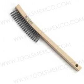 Cepillo de alambre con mango curveado.